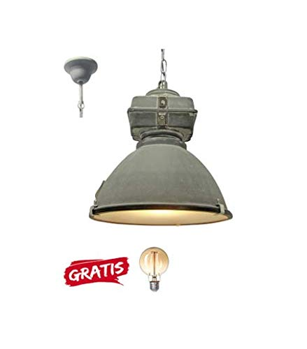 Brilliant Industriele Hanglamp Anouk 93678/70 beton 40cm incl warme lamp