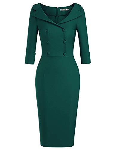MUXXN Womens 50s Fashion Peter Pan Collar Button Up Vintage Pinup Going Out Cute Dress (Dark Green M)