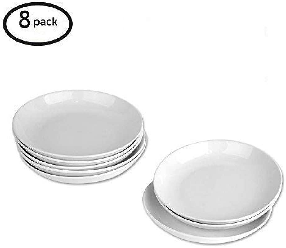 9 Inch Porcelain Pasta Salad Bowls White Soup Bowl Set Wide Shallow Set Of 8 Spiral Pattern