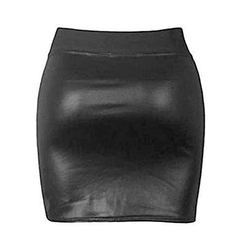 CHRISTYLE Mujer Damas drapeado asimétrico de Talle Alto Club del Partido del Cuero de la PU Ajustado de la Falda Mini Split Un tamaño sin Cremallera
