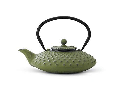 asiatische Teekanne Gusseisen Jing 0,8 ltr. grüne Noppenstruktur
