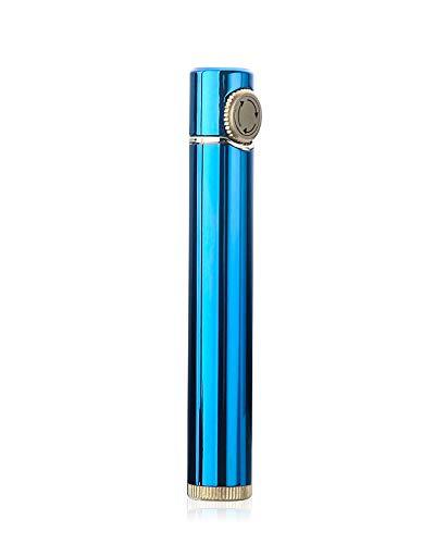 【WDMART】 ガスライター メタルライター タバコパイプライター 充填式ライター 葉巻ライター 注入式ライター 軽量 携帯便利 無料贈呈着火石6粒 タバコケースに入れることができます (ガスを含んでいません) (ブルー)