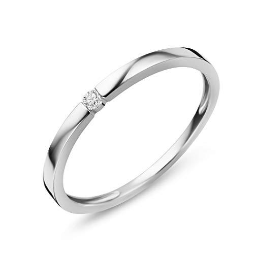 Orovi Damen Diamant Ring Weißgold, Verlobungsring 9 Karat (375) Gold und Diamant Brillanten 0.03 Ct, Solitärring