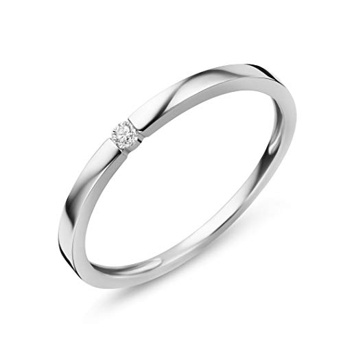 Orovi Women Diamond Ring 9 K /375 White Gold Engagement Ring With Diamond 0.03 Ct Brilliant Cut, Solitaire Ring