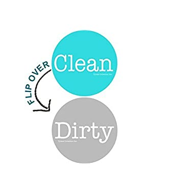 2  Double Sided Round Dishwasher Flip CLEAN & DIRTY Premium 50 mil Dishwasher Magnet. MADE in USA (Aqua & Gray)