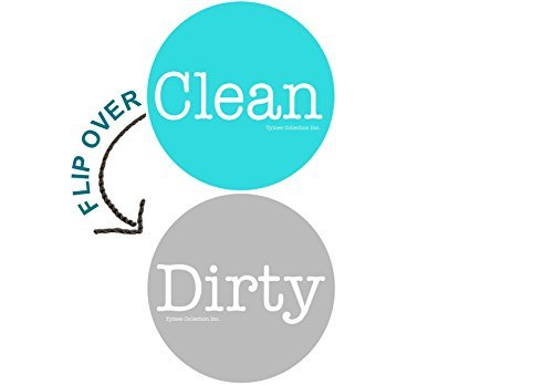 """2"""" Double Sided Round Dishwasher Flip CLEAN & DIRTY Premium 50 mil Dishwasher Magnet. MADE in USA (Aqua & Gray)"""