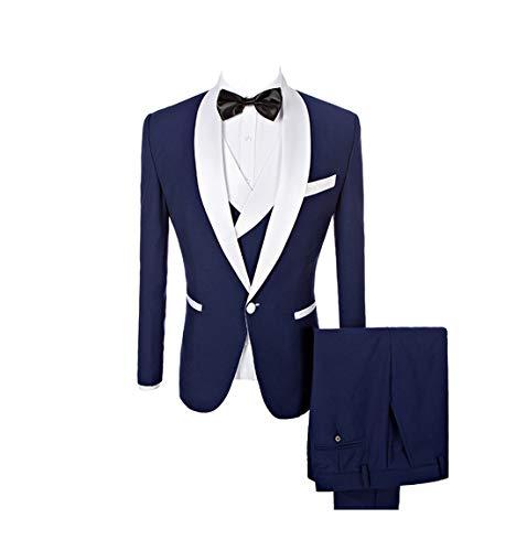 Mens Tweed Herringbone Wedding Suit Prom Tuxedos 3 Piece Peak Lapel Dress (38,Grey