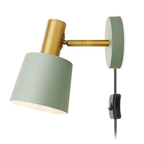 Aplique de metal moderna con interruptor lámpara de pared interior ajustable lámpara de noche para dormitorio, lámparas de lectura de pared sala, punto de pared industrial E27, con cable y enchufe