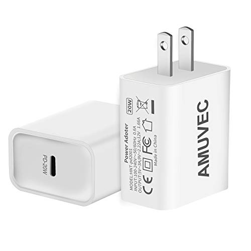 Amuvec 20W USB C Power Adapter, Mini PD Phone Fast Charger, Durable Compact Type C Wall Charger, Compatible with Phone 12/12 Pro/12 Pro Max, samsun, Pixel 4/3, Pad Pro and More(2 Pack/White)