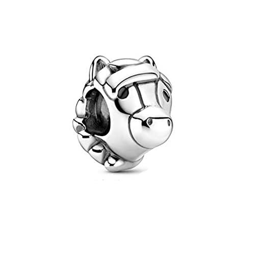925 Plata Pandora Otoño Animales De Dibujos Animados Caballo Charm Beads Se Adapta A Pulseras Originales Fabricación De Collares Moda Diy Joyería De Lujo Para Mujeres