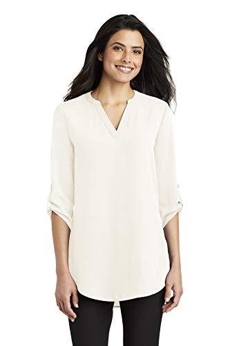 Port Authority Women's 3/4-Sleeve Tunic Blouse, Ivory Chiffon, Large