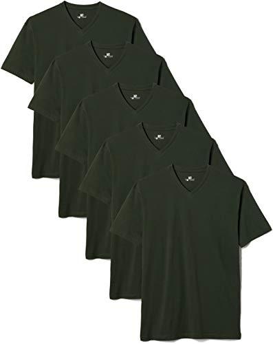 Lower East Herren T- Shirt mit V-Ausschnitt aus 100 {3478e1aa4b1d7e9e489900a4a69c9f46e6909f434a581aeb0350964afd21ca27} Baumwolle, 5er Pack, Dunkelgrün, XL