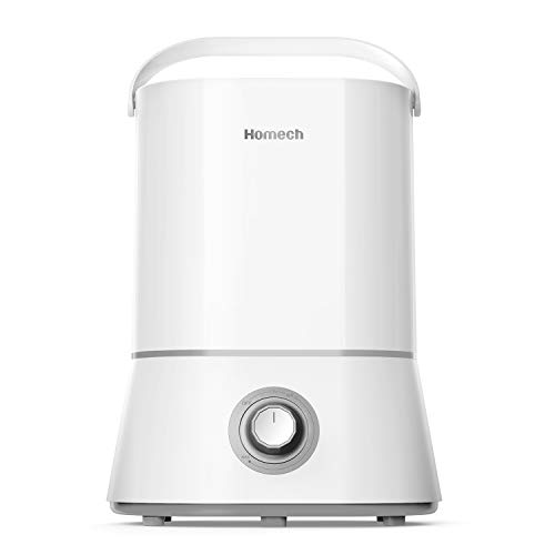 Homech Quiet Humidifiers, 4L Cool Mist Ultrasonic Humidifier for Bedroom Home Baby, 12-60 Hours, Easy to Clean, 360° Nozzle, Waterless...