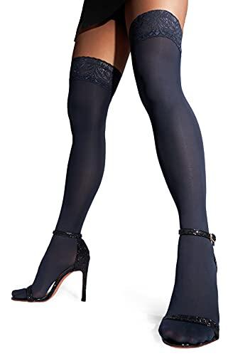 sofsy Hohe Halterlose Strümpfe für Damen mit Spitze - Selbsthaltende Nylonstrümpfe Damen 60 Den, Halterlose Strümpfe Große Größen, Hergestellt in Italien Blau Blue 1/2 - X-Small/Small