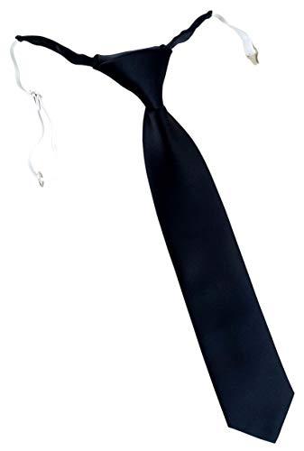 TigerTie Designer Security Sicherheits Krawatte in schwarz einfarbig Uni - vorgebunden mit Gummizug in weiß