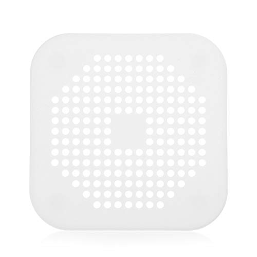 Genenic Waste Sewer Silicone Stopper Sink Strainer Drains Cover Hair Filter Colander(White)