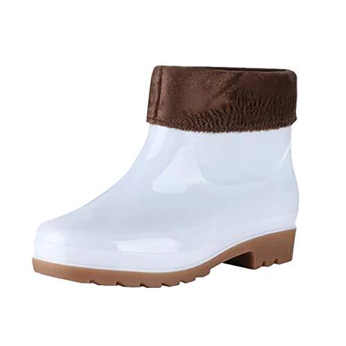 LILIHOT Regen Stiefel Herren Herbst Winter Stiefeletten Plus Samt Warme Kurze Stiefel Mode wasserdichte Kurze Stiefeletten rutschfeste Gummistiefel Slip On Ankle Boots Regenstiefel