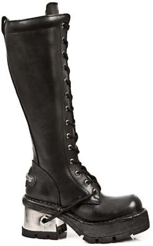 NEWROCK ny Rock 236 Damer Damer Damer svart läder Metal Heel Platform Knee Lace stövlar  spel