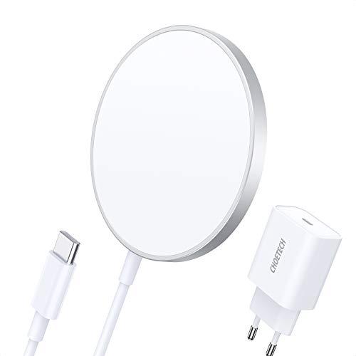 CHOETECH Cargador Inalámbrico Magnético, Wireless Charger Compatible con Mag-Safe Cargador, con PD 20W Cargador Rápido USB C + Cable 1.5M para iPhone 12/12 Mini/12 Pro/12 Pro MAX/Airpods Pro y Más