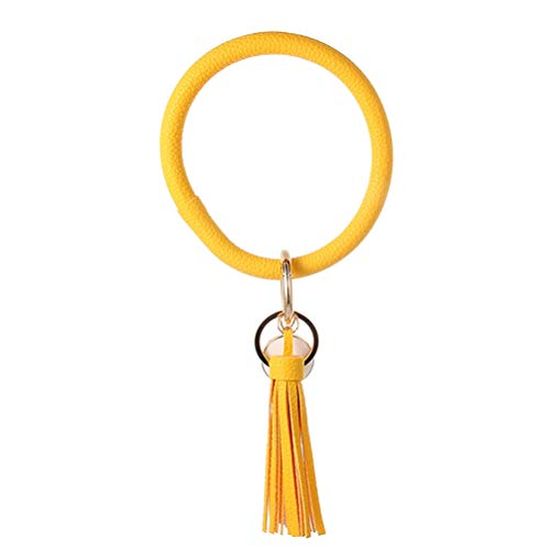 HEREB Schlüsselanhänger, PU-Leder, rund, Tropfenform, Öl-Quaste, Anhänger, Armband, Armreif für Frauen und Mädchen gelb