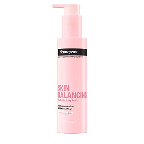 Neutrogena Skin Balancing Milky Cleanser with 2% Polyhydroxy Acid (PHA), Soothing & Moisturizing Face Wash for Dry & Sensitive Skin, Paraben-Free, Soap-Free, Sulfate-Free, 6.3 oz