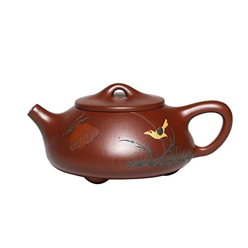 Big Save! Chinese teapot Okay Ore Teapot Big Red Mud Painted Lotus Gem Scoop Pot Teapot Yixing clay ...