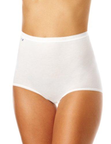 Sloggi sloggi Basic+ Maxi 4P, Culotte Taille haute Femme, Blanc (WHITE 0003), 50 (Taille fabricant: 48) Lot de 4 Lot de 4