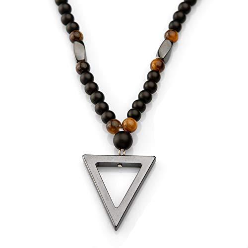 Perla Style Collar de Hombre o Mujer con Piedras de hematita|Collar Largo con Piedras de ónix Mate Negro 6mm y Piedras de Ojo de Tigre Colgante de triangulo de Hematita energético