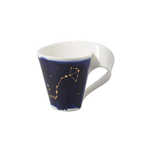 Villeroy & Boch - NewWave Stars Becher mit Henkel, formschöne Tasse mit Skorpion-Motiv, Premium Porzellan, spülmaschinengeeignet, weiß/blau, 300 ml