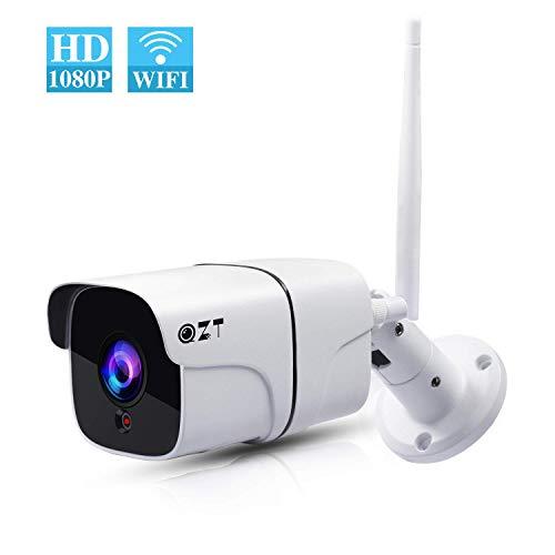 1080P Überwachungskamera Aussen, QZT Outdoor IP Kamera WiFi 2.4Ghz, Infrarot Nachtsicht, Zwei-Wege-Audio, Bewegungserkennung, HD Außenkamera mit Handy App für Außen Zuhause Sicherheit (Out-01)
