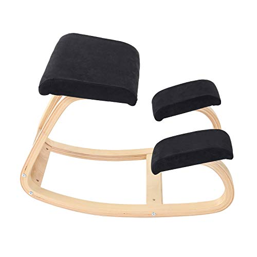 XgnoDez Ergonomic Kneeling Chair for Office, Better Posture Chair Meditation Wood Rocking Chair, Comfortable Relief Chair for Desk, Black