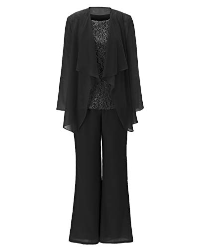 Women's 3 Pieces Appliques Chiffon Mother of Bride Dress Pant Suits Long Sleeves with Jacket Outfit for Wedding Groom