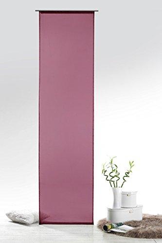Fashion&Joy - Schiebegardine Voile Beere HxB 245x60 cm mit Zubehör - transparent einfarbig - Flächenvorhang Schiebevorhang Gardine Typ418