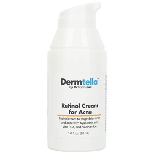 DrFormulas Retinol Cream for Acne Treatment with Hyaluronic Acid, Niacinamide, Zinc PCA   Dermtella for Teens, Men & Women with Oily Acne Prone Skin, Non-comedogenic Moisturizer (1 Fl Oz)