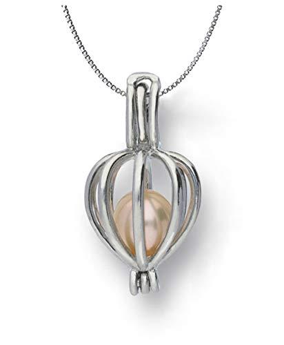 Sterlingsilber Süßwasser-Zuchtperle in Oyster (5–7mm) Herz Käfig Medaillon Halskette Wunschperle, 18von CoolRings.