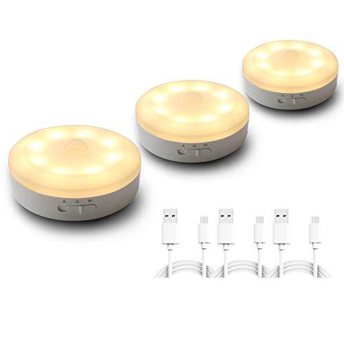 luce notturna con sensore movimento,ricaricabile USB Illuminazione armadio, luce alimentata a batteria con rilevatore di movimento Per ingresso, camera da letto, armadio, armadio Bianco caldo 3 pezzi