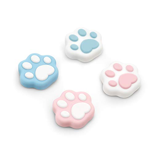 GeekShare Cat Paw Playstation 4 Controller Thumb Grips, Thumbsticks Cover Set Compatible with Switch Pro Controller and PS4 PS5 Controller, 2 Pair / 4 Pcs-Cat Paw Shape