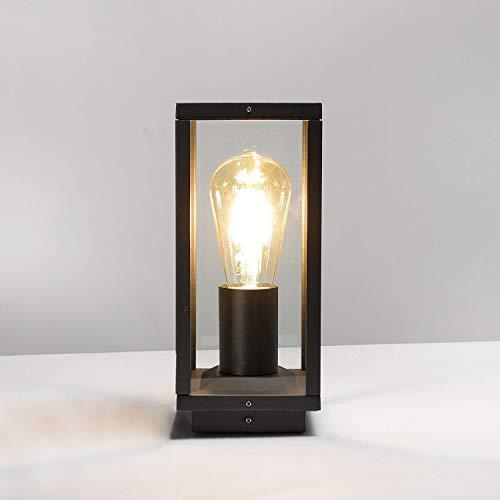 Sockelleuchte Anthrazit IP44 eckig schmal H:25cm Metall Vintage Design Außenlampe Haus Hof Garten