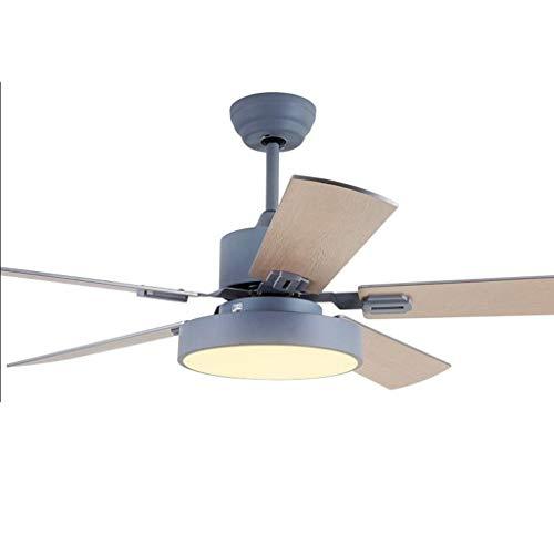DJ Home Ventilador de techo retro para el hogar, de madera, de 5 hojas, de techo, de bajo techo, sala de estar, con control remoto LED nórdico, color gris, tamaño: 42 pulgadas