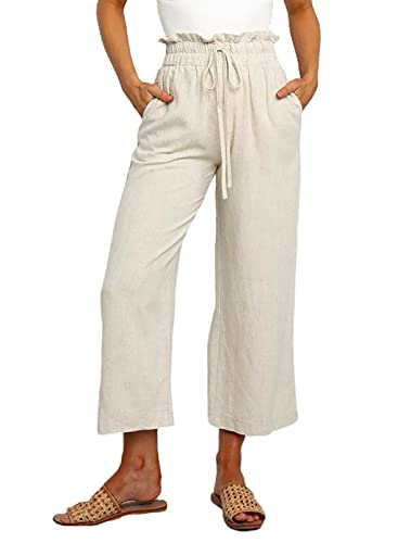 Dokotoo Womens Comfy Casual Loose Stretch Drawstring Tie Elastic Waist Solid Jogging Jogger Work Office Wide Leg Pants Sweatpants for Women with Pockets Khaki Medium