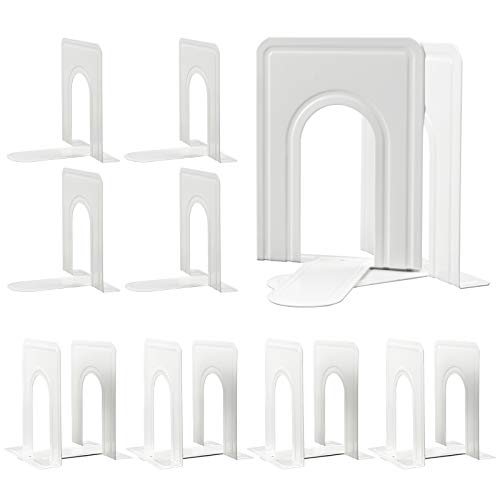 Bookends, Nonskid Metal Bookend Supports for Shelves, Heavy Duty Book End, Office Book Stopper, 6 x 5 x 6 Inches, 14 Pieces / 7 Pairs (White)