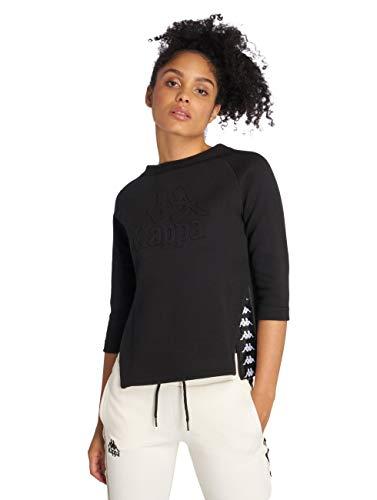 Kappa Alkhe Authentic Fleece Camiseta Manga Larga, Mujer, Negro (Black/White), M