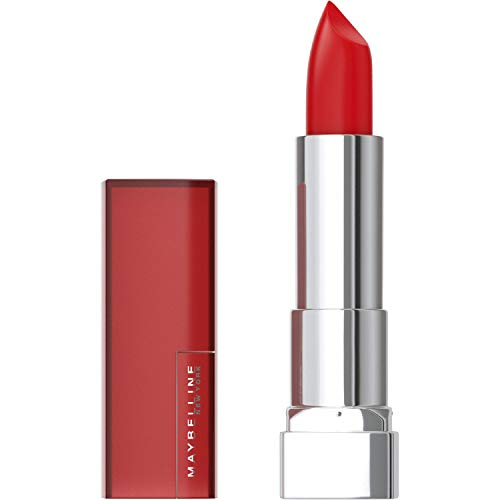 Maybelline Color Sensational Lipstick, Lip Makeup, Matte Finish, Hydrating Lipstick, Nude, Pink, Red, Plum Lip Color, Siren In Scarlet, 0.15 oz. (Packaging May Vary)