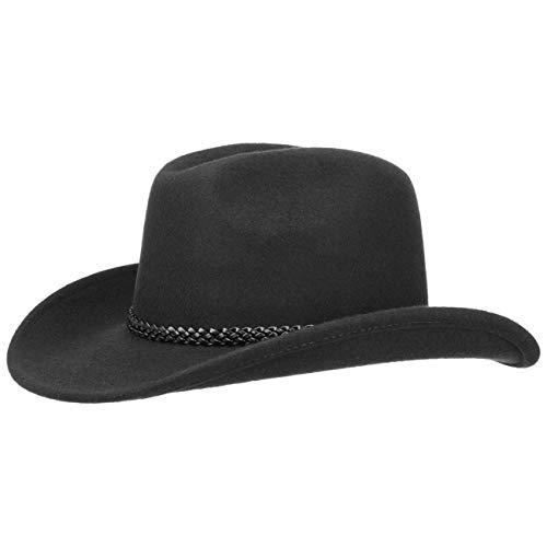 fiebig Westernhut Chuck mit Kunstlederband | Cowboyhut aus 100% Wollfilz Made in Italy | Individuell formbar | Wollfilzhut in vielen Größen (60-XL)