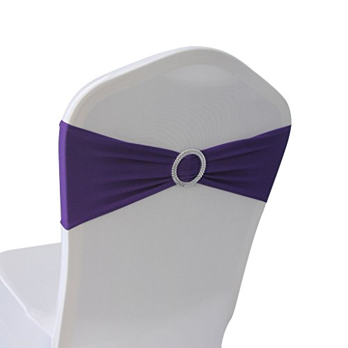 Purple Spandex Chair Bands Sashes - 50 pcs Wedding Banquet Party Event Decoration Chair Bows Ties (Purple, 50)