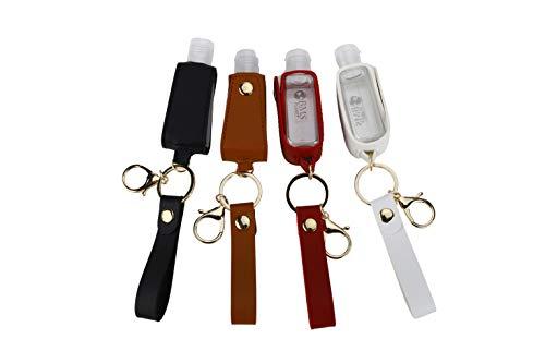 Lot de 4 porte-clés distributeurs de gel hydroalcoolique pour homme et femme – Porte-clés doseur de désinfectant pour les mains