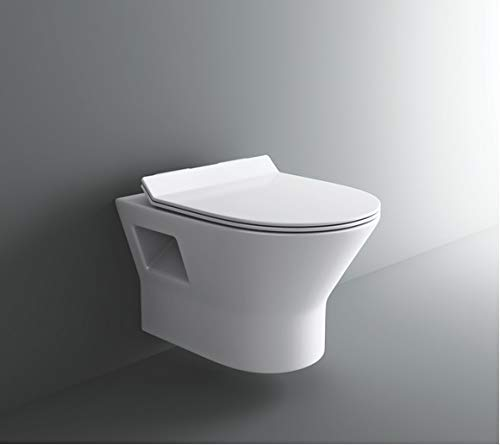 Zoyo Cera Soyo Ceramic Wall Mount Hung White Glossy Finish Western Toilet with Soft Close Seat Cover for Bathrooms (50 X 37 X 40 cm )