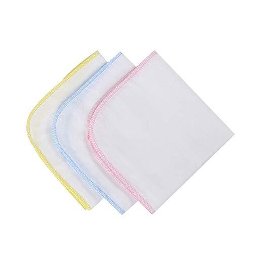 GARLIC PRESS 3Pcs Pañuelo Suave de Gasa de Doble Capa de Alta Densidad Toalla Cuadrada Pequeña Paños de Lavado Toalla de Saliva para Bebé Niños 3 Colores