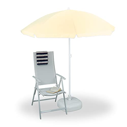 Relaxdays Sonnenschirm, Ø 180 cm, höhenverstellbar, kippbar, Balkonschirm rund, Polyester, Stahl, Strandschirm, hellgelb