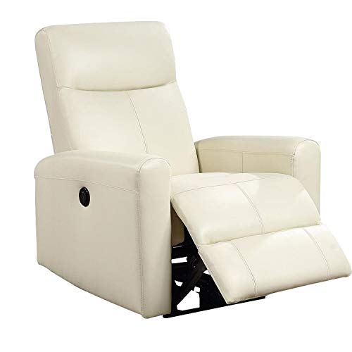 Unknown1 Leatherette Power Recliner with Tufted Back Beige Solid Modern Contemporary Metal Wood Antique